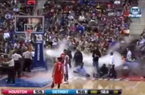 fog machine malfunction at pistons game