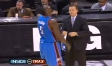 "Thunder Coach Scott Brooks Blows Kendrick Perkins's Mind with Complicated ""Get the Ball to KD"" Strategy (Video)"
