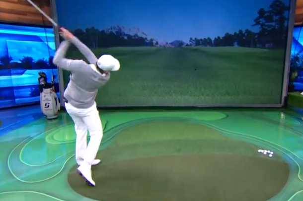 james sadlowski destroys golf drive simulator at golf channel studios