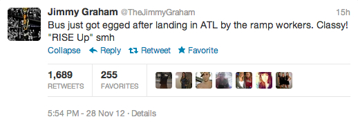 jimmy graham tweet bus egged