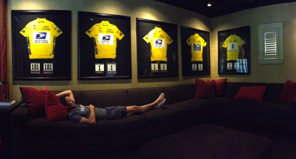 lance armstrong lying around twit pic jerk