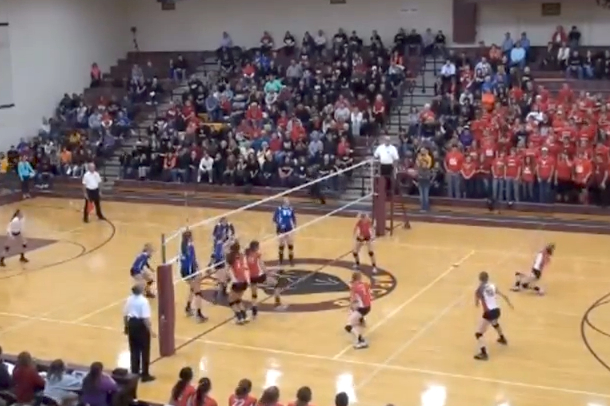 lucky bounce volleyball hits face trips fan