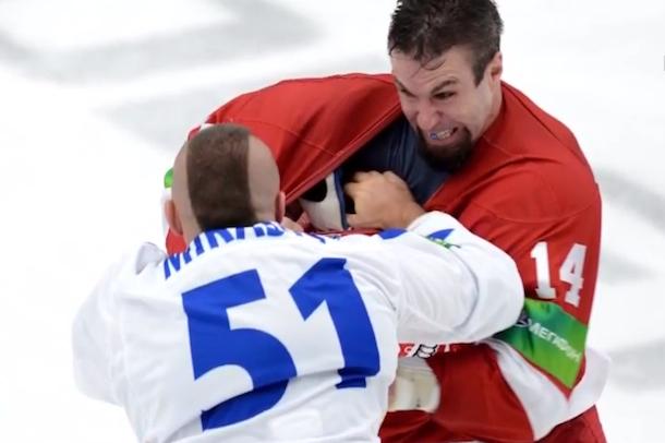 mirasty vs. gillies khl hockey fight