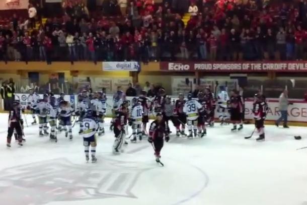 post-game hockey line brawl english elite hockey league