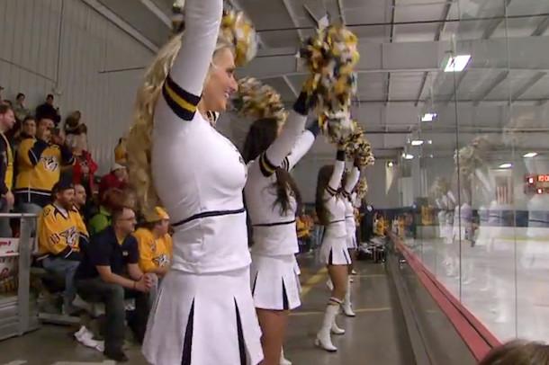 predators smashmob youth hockey game cheerleaders