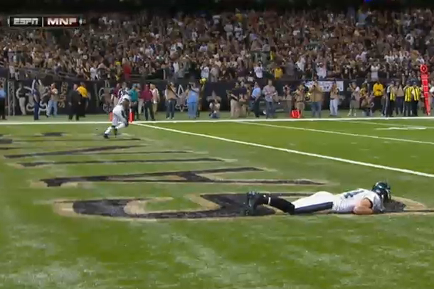 riley cooper trick play lying down in end zone