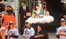Lady With Big Hat Confuses San Francisco Giants With 49ers During Parade (Dramatic Lou Seal Video)