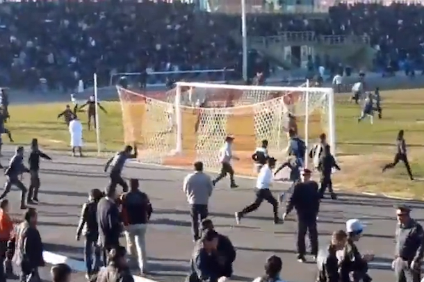 soccer brawl and riot in tajikistan