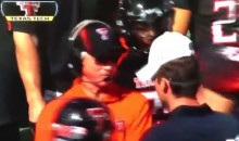 Disgusted Texas Tech Football Coach Tommy Tuberville Slaps His Assistant Coach's Headphones Off On Saturday (Video)
