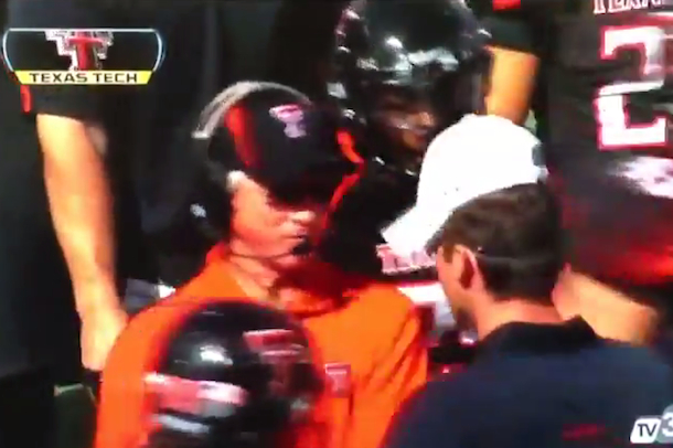 texas tech coach slaps headphones off assistant coach