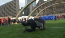 Mayor of Toronto Takes Hilarious Spill While Playing Football in Front of City Hall (Video & GIF)