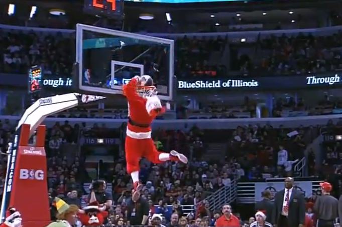 Dunking Santa Claus Smacks His Beard On The Rim Video