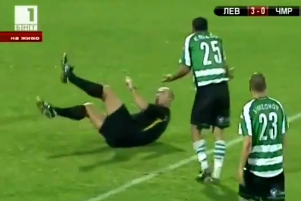 bulgarian soccer player bodychecks referee