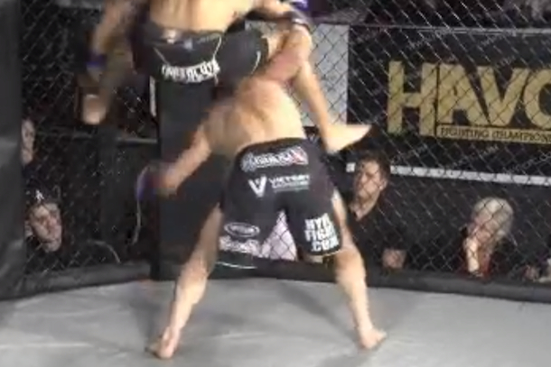 flying reverse triangle mma knockout