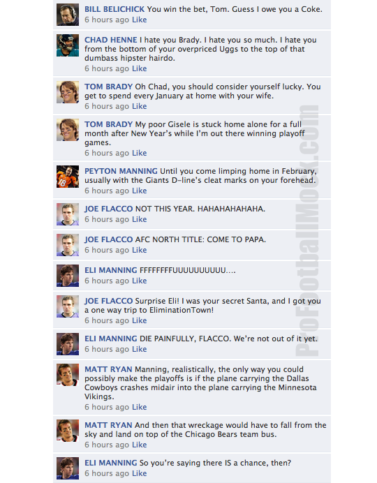 nfl qbs on facebook convo week 16 7