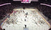 22,000 Teddy Bears Tossed Onto The Ice During Calgary Hitmen Game (Video)