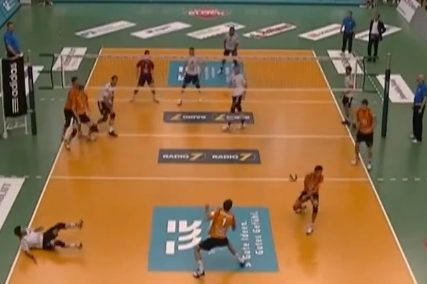 volleyball triple six-pack ball to face