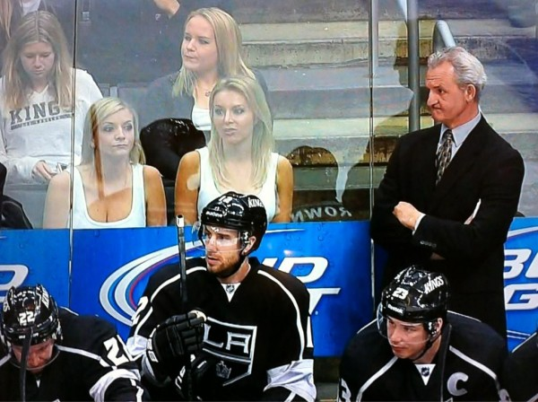 Check Out the Two Blondes Behind the Kings Bench Last Night