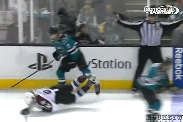 bone crushing hockey check - brad stuart gabriel landeskong