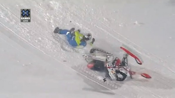 daniel bodin xgames crash snowmobile