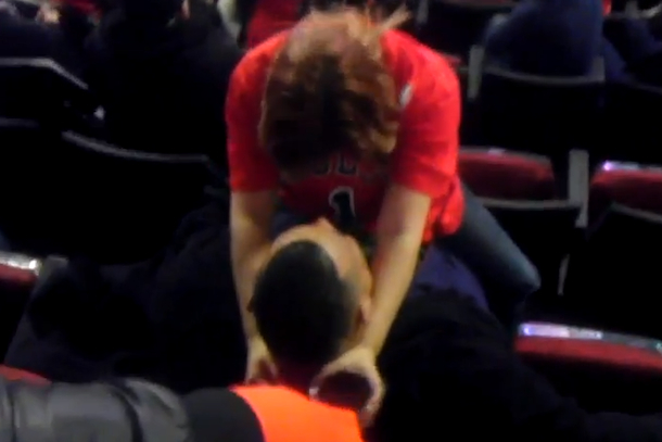 drunk bulls fan lap dance during game