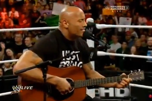 dwayne the rock johnson rock concert wwe monday night raw