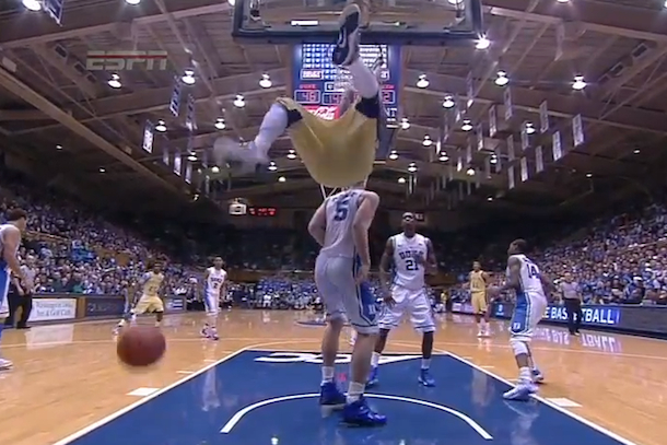 georgia tech basketball dunk celebration fail
