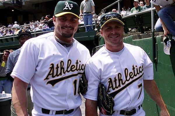 giambi brothers oakland athletics (jeremy giambi and jason giambi) - baseball brothers same team