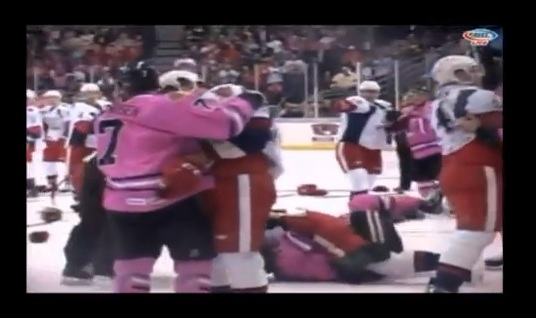 icehogs griffins bench clearing brawl