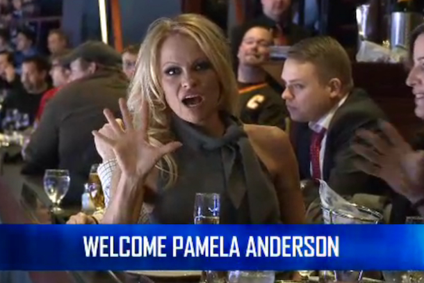 pam anderson at canucks game