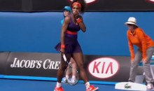 Serena Williams Hit Herself in the Face with Her Own Racket (Video)