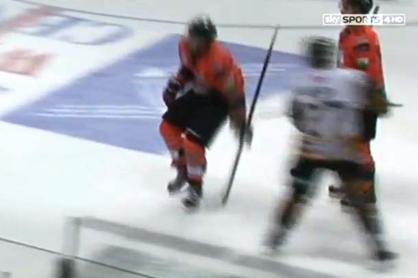vicious two-handed hockey slash