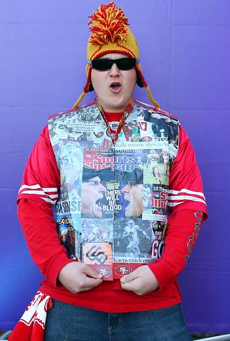 11 49ers fan newspaper vest - crazy super bowl xlvii fans