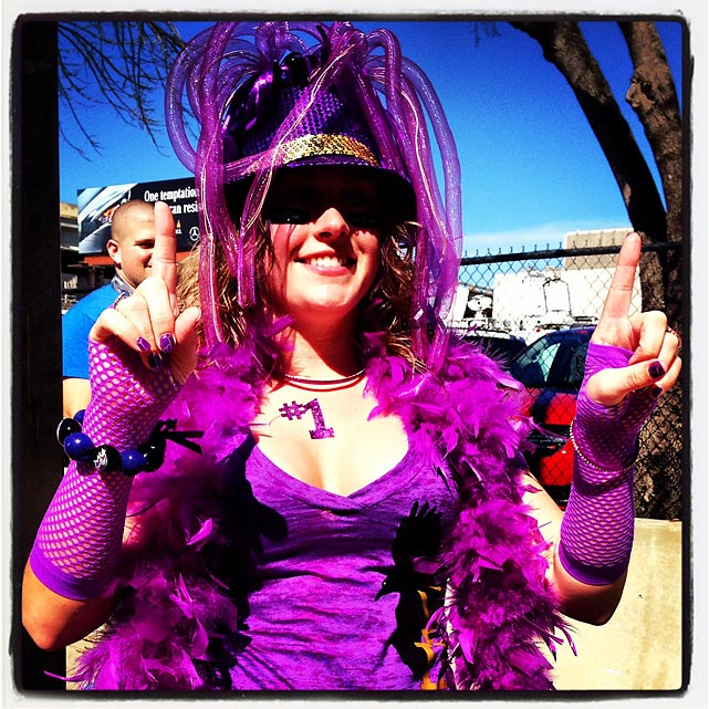 12 ravens fan weird purple hat - crazy super bowl xlvii fans