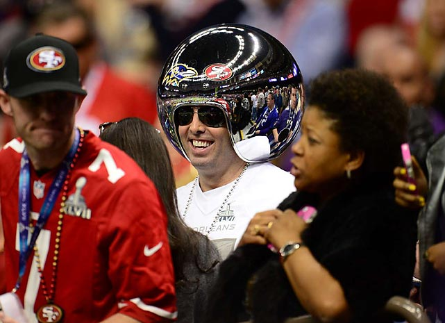 15 chrome helmet guy - crazy super bowl xlvii fans
