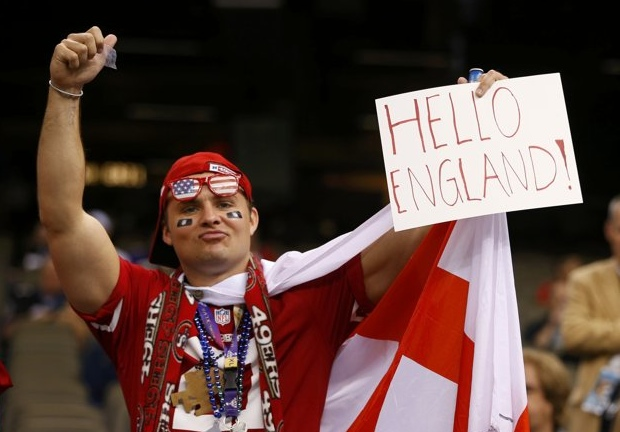 18 hello england english super bowl fan - crazy super bowl xlvii fans