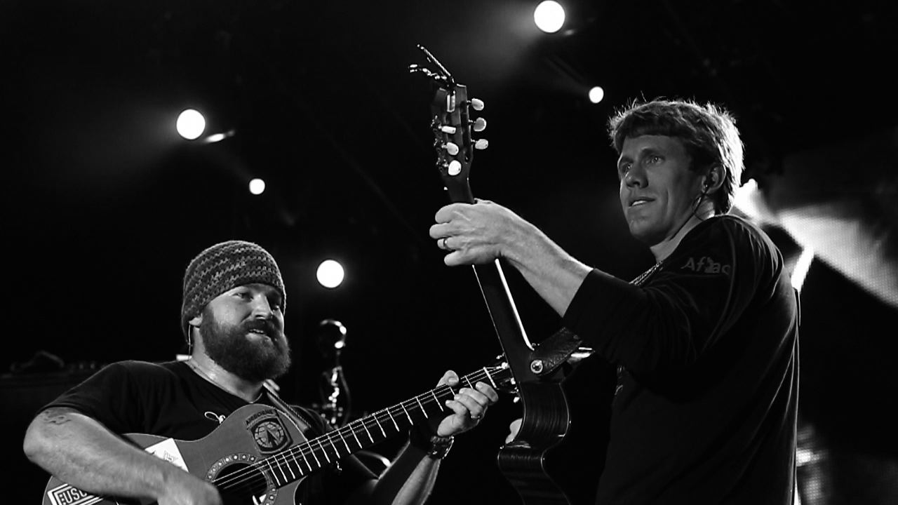 22 carl edwards playing guitar with zac brown band - athletes who were musicians