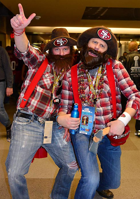 3 49ers fans dressed as 49ers - crazy super bowl xlvii fans