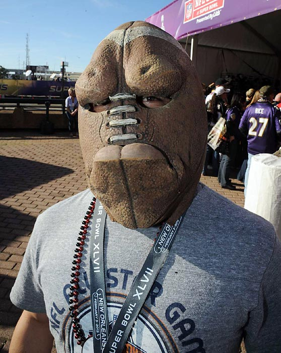 4 creepy football mask - crazy super bowl xlvii fans