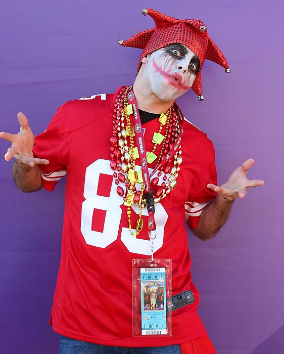 7 49ers fan joker makeup - crazy super bowl xlvii fans