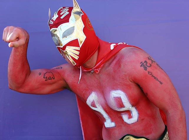 9 49ers fan super hero wrestler mask - crazy super bowl xlvii fans