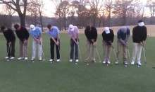 Watch 9 Golfers Sink 9 Simultaneous Putts Into the Same Hole (Video)