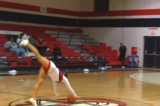 ashlee arnau cheerleader front flip half-court shot