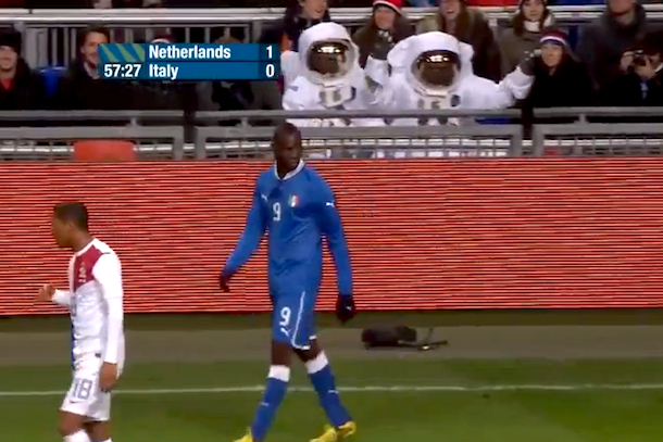 astronaughts in stands at italy netherlands soccer friendly