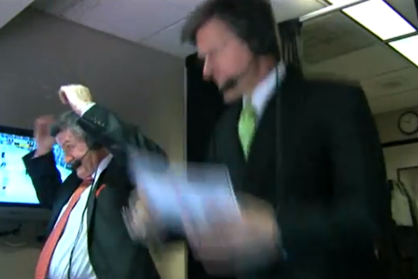 bruins announcer jack edwards jumps for joy when bruins tie game