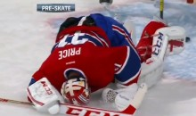 Habs' Carey Price Takes a Puck to the Groin During Warm-Ups (Video)
