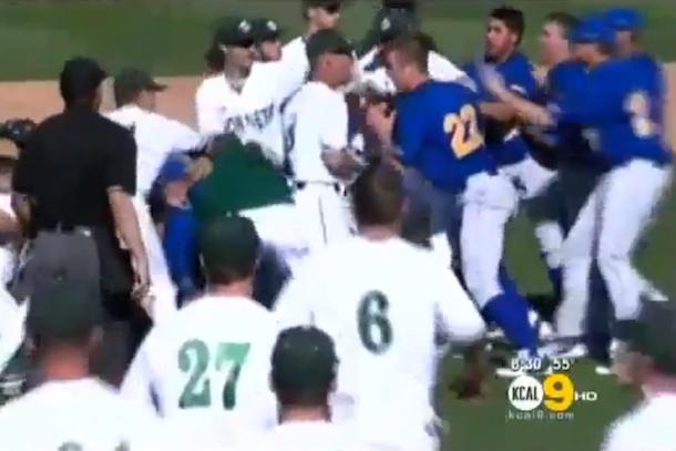 college baseball bench-clearing brawl sacramento state uc riverside
