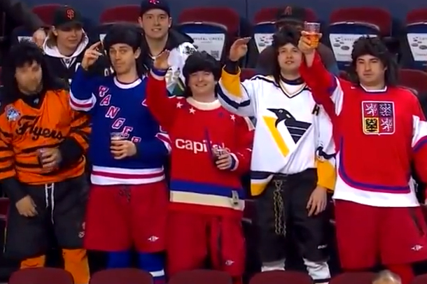 calgary flames fans dressed as jaromir jagr