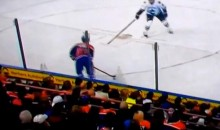 Drunk Oilers Fans Built a Beer Cup Pyramid on the Glass (Video)