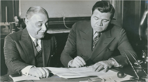 jacob ruppert yankees owner signing babe ruth - winningest sports team owners